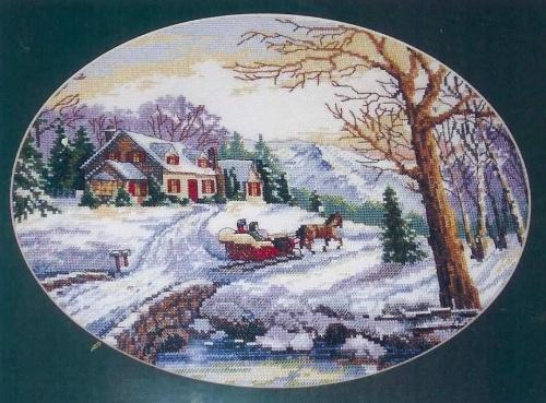 Вышивка крестиком-Зимний пейзаж.