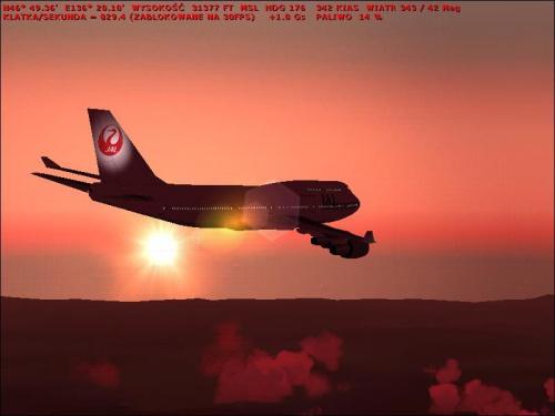 JAL na tle zachodzącego słońca :)
