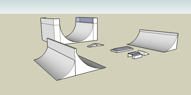 Prerendery całego parku #skatepark #prerender #render #rampa #box #ławka #skocznia #stół